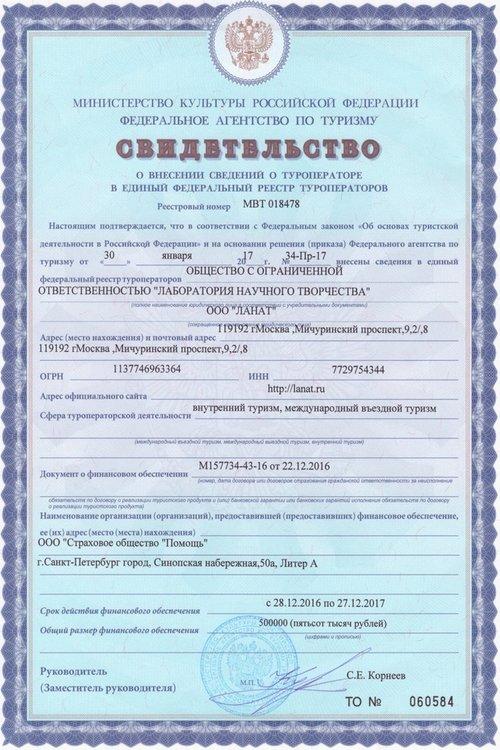 Свидетельство о регистрации туроператора